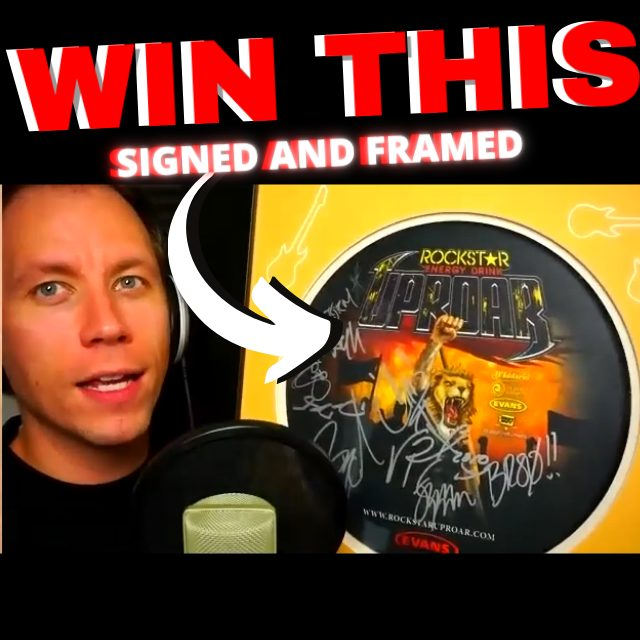 WIN THIS SINGED AND FRAMED UPROAR 2010 TOUR DRUMHEAD!